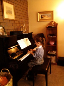 Piano Girl practising before school