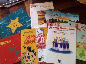 PreTime Piano Popular, PreTime Piano Christmas, Getting to Preliminary New Mix, 70 Keyboard Adventures with the little Monster, Happy Birthday to You and other Great Songs (5 Finger Piano), My First Piano Adventure Christmas, P Plate Piano Book 1